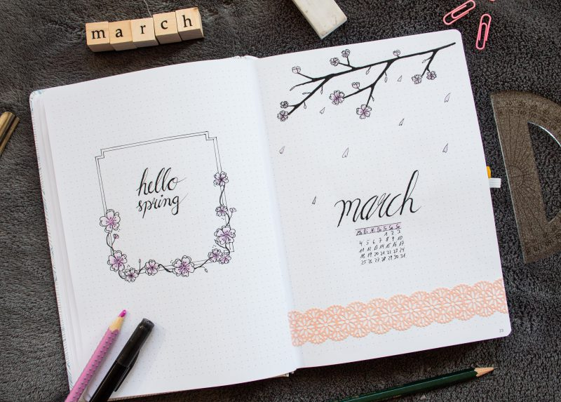 Bullet Journal March 2019 Setting Spread