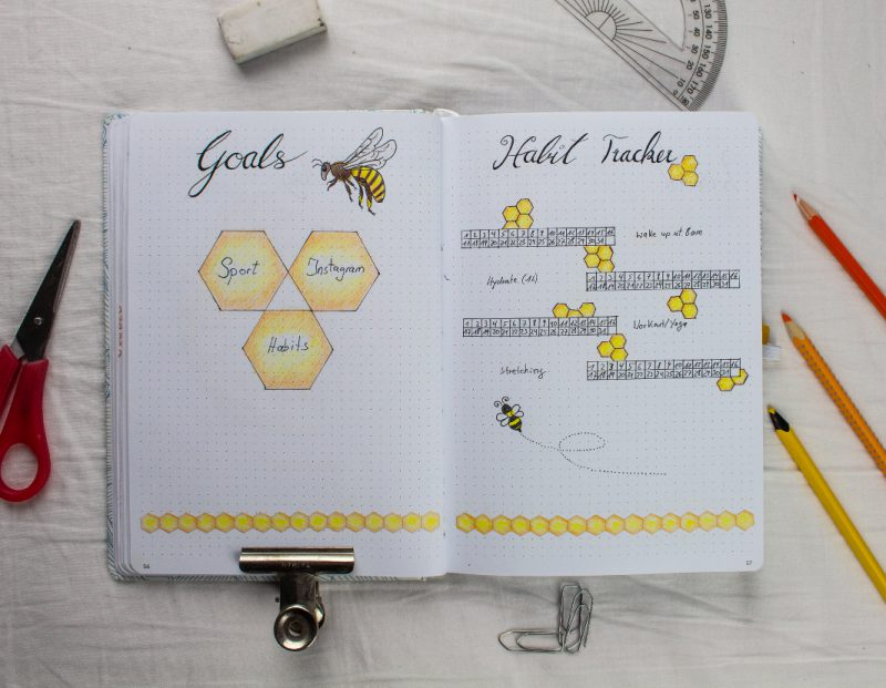 BuJo Bee may setting habit tracker