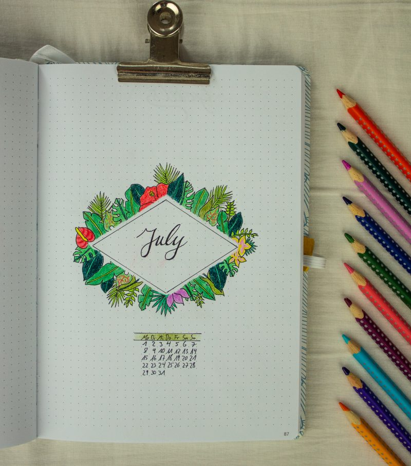 Bullet Journal Setting July tropical