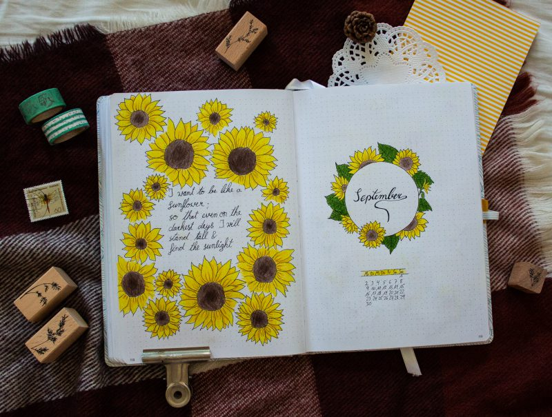 Bullet Journal Sunflower Setting Spread