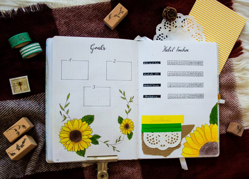 Bullet Journal sunflower Goals Habit Tracker