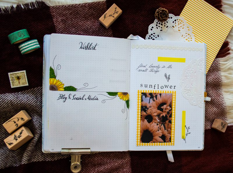 Bullet Journal Sunflower Wishlist