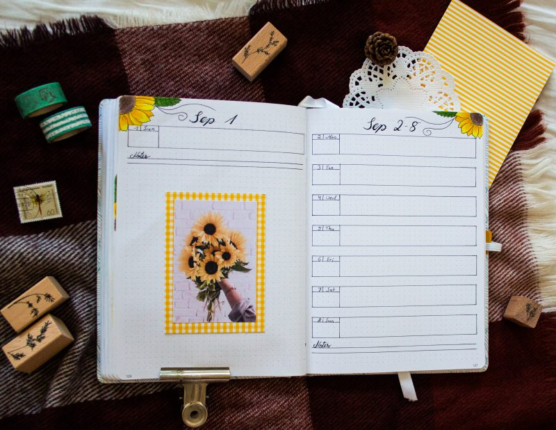 Bullet Journal Sunflower weekly