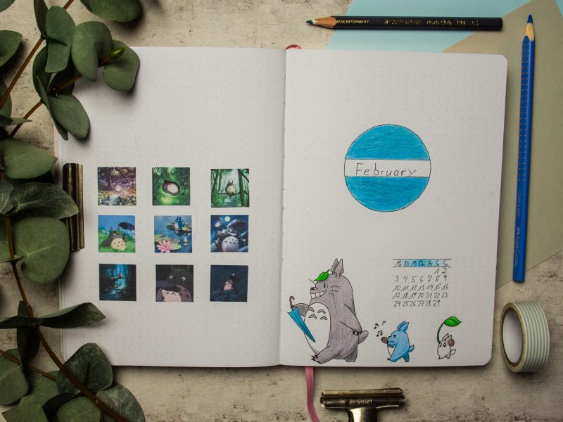 bullet journal february totoro