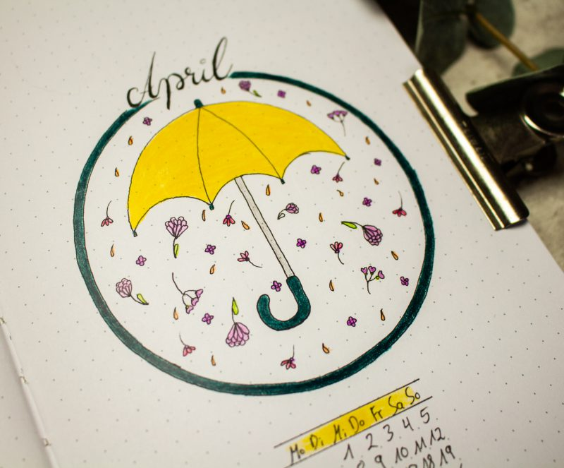 Bullet Journal April umbrella
