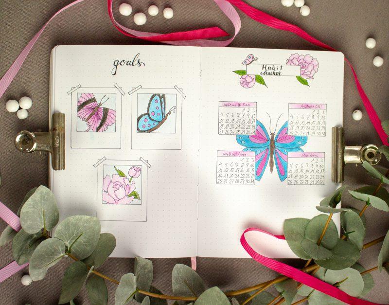 Bullet Journal May goals habit tracker
