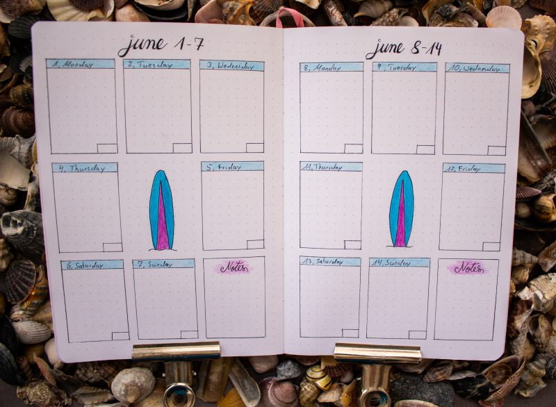 Bullet Journal weekly overview june surf