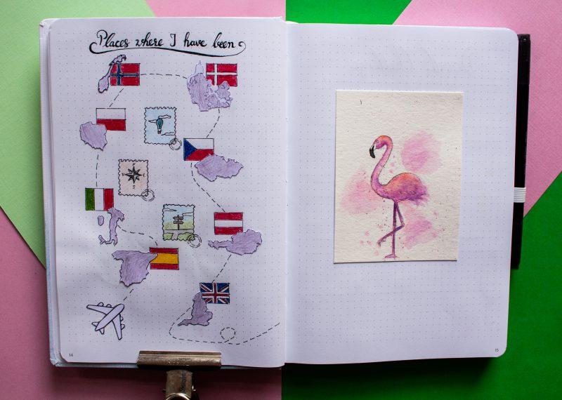 Bullet Journal august flamingo