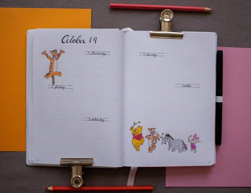 Bullet Journal weekly Winnie Pooh